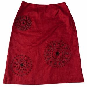 Ann Taylor Red Embroidered Beaded Linen Skirt